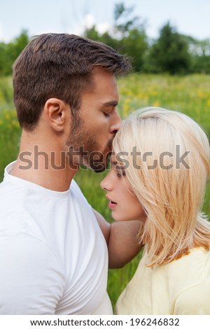 Close-up of a young couple in love - stock photo