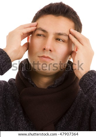 close-up of a young man that has an intense headache, isolated on white