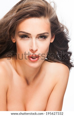 close up of a young woman beauty portrait studio shot - stock photo