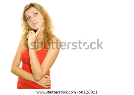 Close-up of a young woman Looking up. Lots of copyspace and room for text on this isolate - stock photo