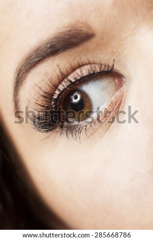 Close up of a young woman's eye, wearing long fake eyelashes