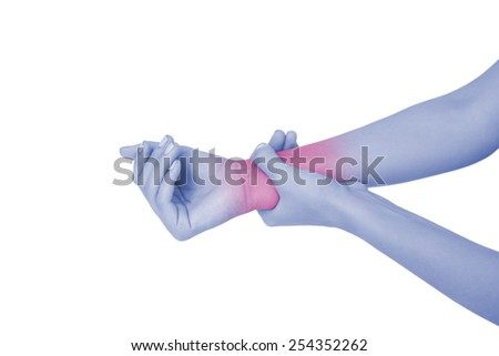 Close up of a young woman touching her wrist on white background