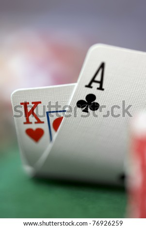 Close-up of Ace/King Playing Cards - stock photo