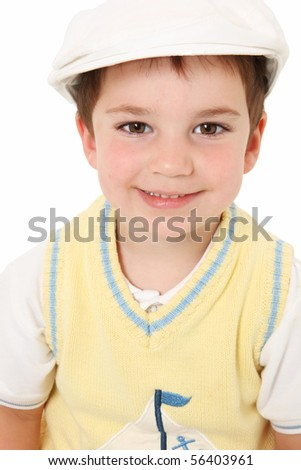 Close up of adorable three year old american boy in white hat. - stock photo
