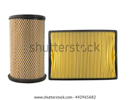 Close up of air filter car isolated on white background