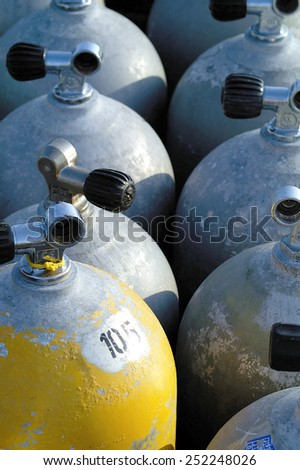 Close-up of air tanks for scuba diving