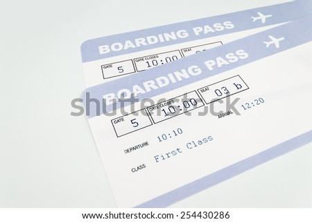 close up of airline boarding pass - stock photo