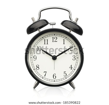 Close up of alarm clock isolated on white background - stock photo