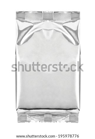close up of aluminum bag package on white background - stock photo