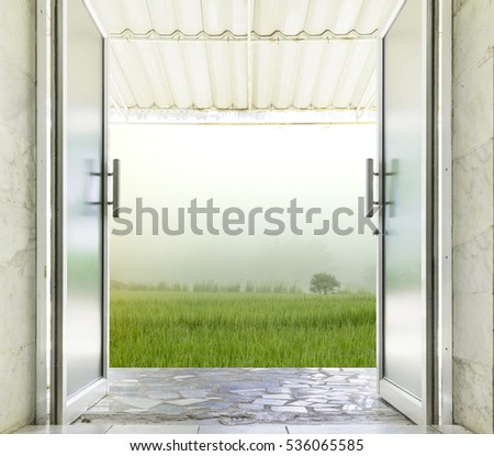 Closeup aluminum glass door open outdoor stock photo royalty free close up of aluminum glass door open to outdoor planetlyrics