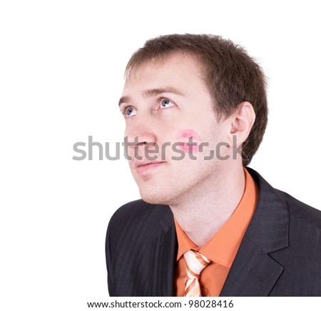 Close up of amazed kissed man face in business suit isolated on white background. - stock photo