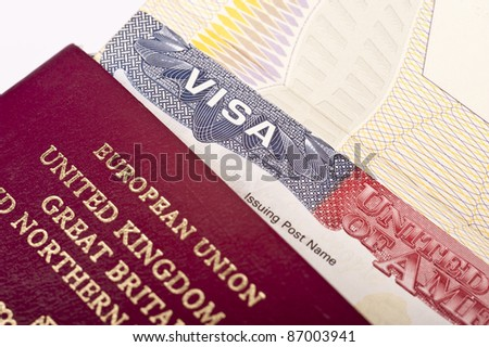 Close Up of American Visa - stock photo
