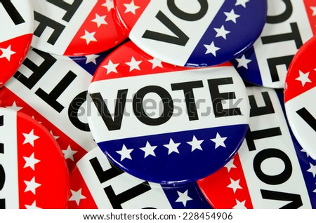 close up of American voting buttons - stock photo