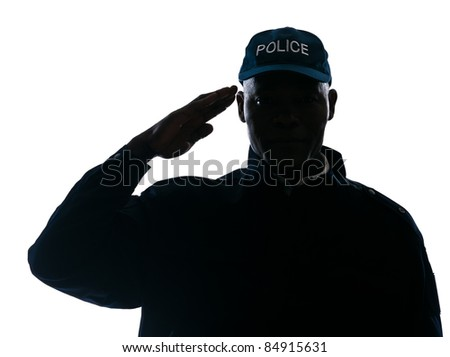 Close-up of an Afro American policeman saluting in studio on white isolated background - stock photo