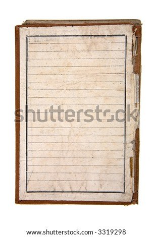 Close-up of an aged notebook isolated on white - stock photo