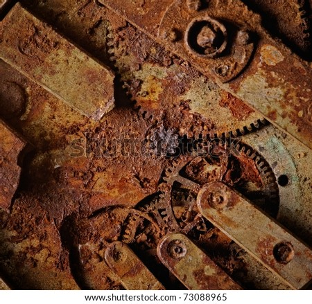 Close-up of an ancient gears mechanism - stock photo