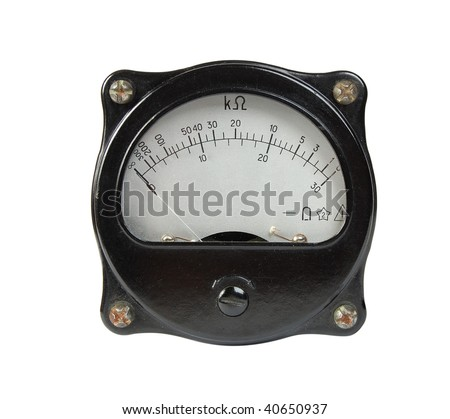 Close-up of an ancient ohmmeter, isolated on white