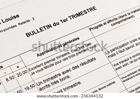 Close up of an anonymous French school report (Bulletin du 1er trimestre = First term report)