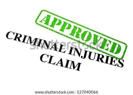 Close-up of an 'Approved' Criminal Injuries Claim letter. - stock photo