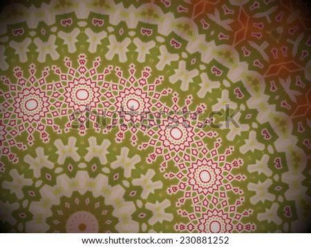 close up of an artistic stylish backdrop with radial red, white and green geometric abstract pattern, in the style of a mosaic - stock photo