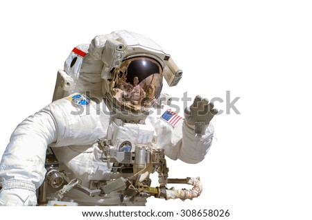Close up of an astronaut isolated on white background - elements of this image are provided by NASA - stock photo