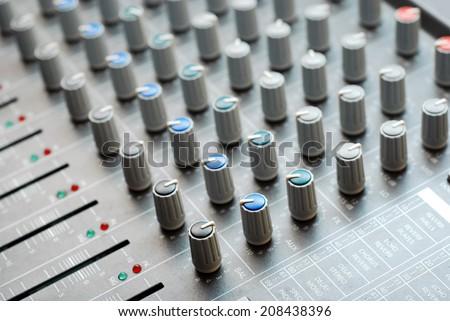 close-up of an audio mixer - stock photo