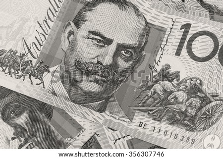Close-up of an Australian One Hundred Dollar Notes - black and white - stock photo