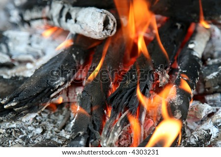 Close up of an campfire