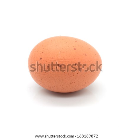 Close up of an egg isolated on white background, with shadows - stock photo
