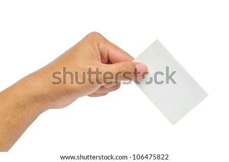 Close-up of an empty business card in a man hand isolated on white - stock photo