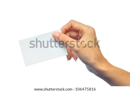 Close-up of an empty business card in a woman's hand isolated on white - stock photo