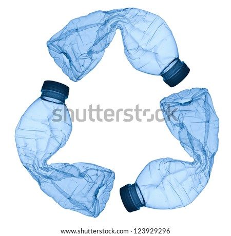 close up of an empty used plastic bottle on white background - stock photo