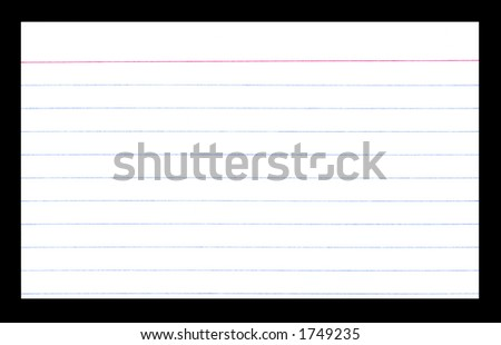 Close-up of an empty white index card isolated on a black background