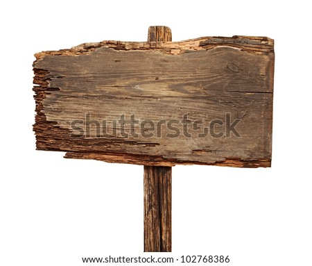 close up of an empty wooden sign isolated on white background - stock photo