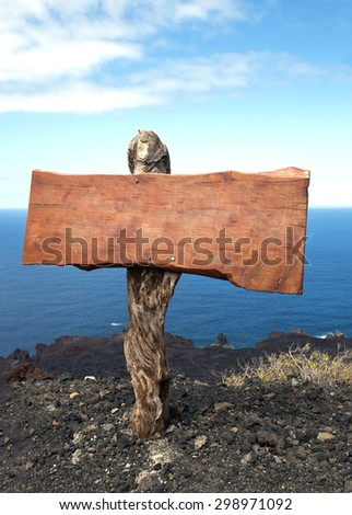 close up of an empty wooden sign on seascape - stock photo