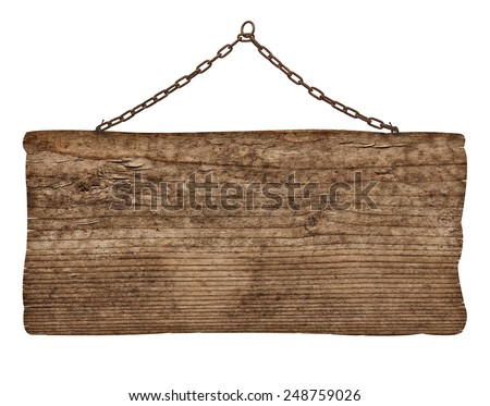 close up of an empty wooden sign on white background - stock photo