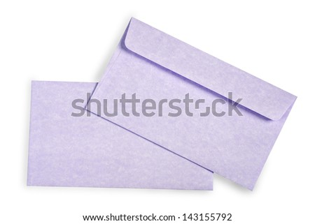 Close-up of an envelopes and card on white with shadow.
