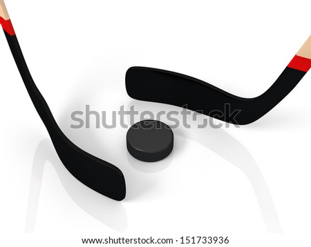 close up of an ice hockey stick and puck isolated on white background - stock photo