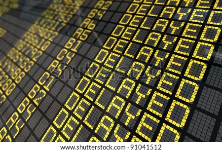 Close-Up of an international airport board panel with all flights delayed - stock photo