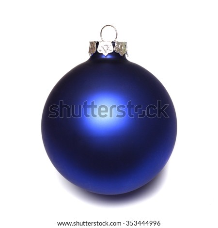 Close-up of an isolated blue christmas ball - stock photo