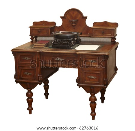 close up of  an old antique table on white background  with clipping path - stock photo