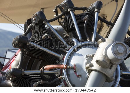 Close-up of an old Bi-Plane Engine