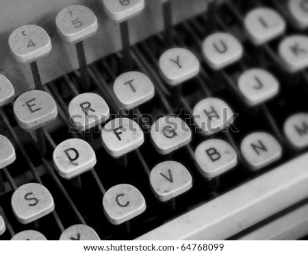 Close Up of an Old Dusty Typewriter - stock photo