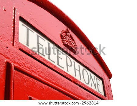 Close up of an old English red telephone box. - stock photo