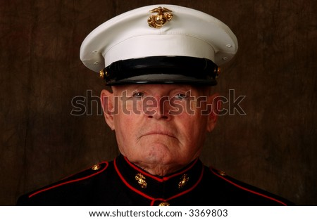 Close-Up of an old Marine in full dress uniform - stock photo