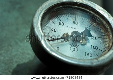 Close up of an old measurement meter - stock photo