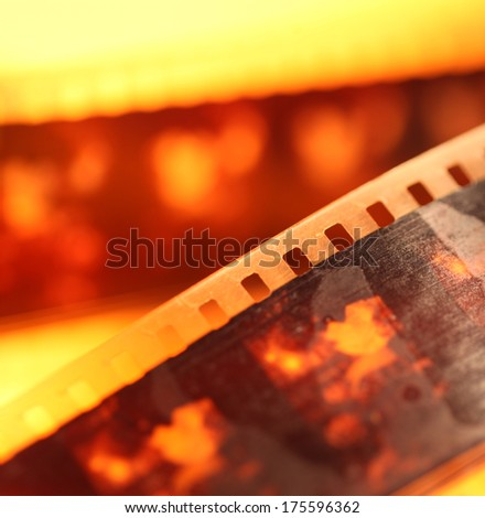 Close up of an Old 35mm film strip - stock photo