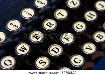 Close up of an old typewriter keys - stock photo