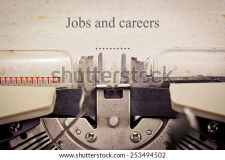 Close-up of an old typewriter with paper, selective focus, Jobs and careers
