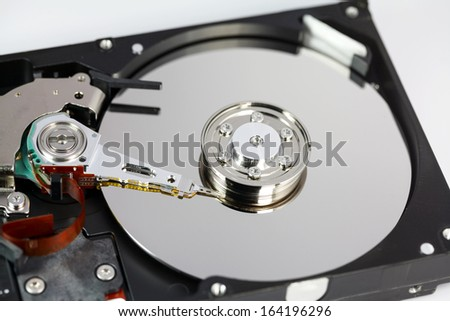 Close-up of an opened hard disk drive